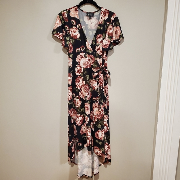 by & by Dresses & Skirts - By & By faux wrap black rose floral hi low dress M